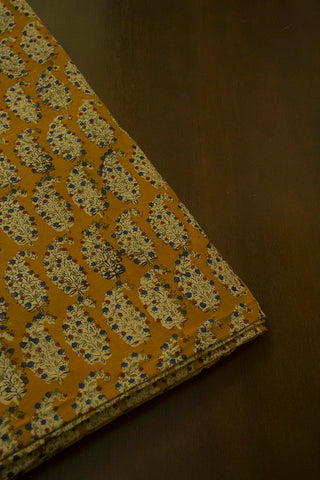 Fenugreek Yellow Printed Kalamkari Fabric