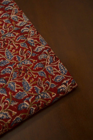 Dark Maroon with Indigo Leaves  Printed Kalamkari Fabric