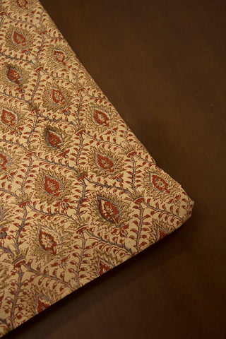 Beige with Maroon Printed Kalamkari Fabric