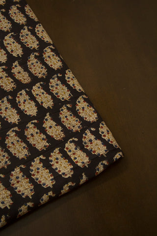 Black with Beige Paisley Printed Kalamkari Fabric