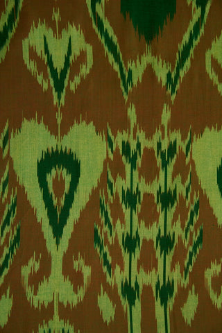 Shades Of Green and Brown Indonesian Ikat Cotton Fabric