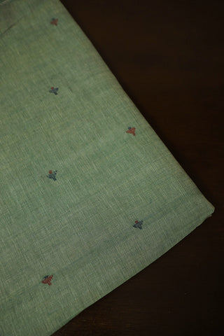 Light Green with Deepam Butta Natural Dyed Jamdani Fabric-1.9m