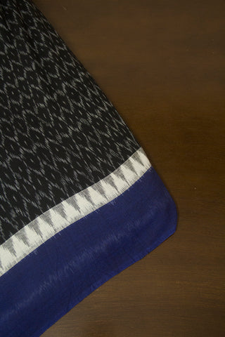 Black with Blue Border Ikat Cotton Fabric