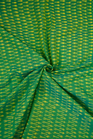 Double Shaded Yellowish Green Mercerized Cotton Ikat Fabric