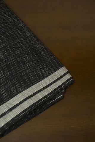 Black Irregular Stripes Ikat Cotton Fabric