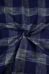 Blue with Off White Checks Natural Dyed Ikat Cotton Fabric