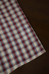 Maroon with Off White Checks Natural Dyed Textured Handspun Handwoven Fabric