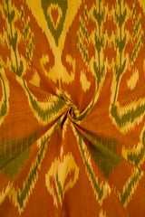 Subdued Green with Pale Yellow Indonesian Ikat Cotton Fabric