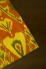 Subdued Green with Pale Yellow Indonesian Ikat Cotton Fabric-2.3 m