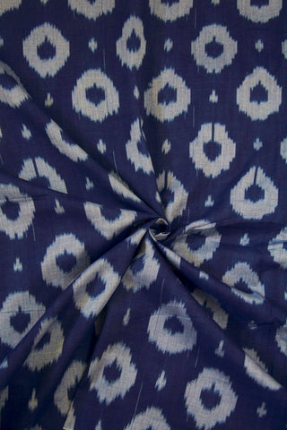 Circles in Indigo Natural Dyed Ikat Cotton Fabric