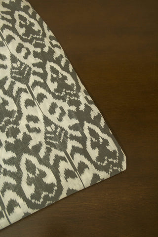 Off White with Grey Mercerized Cotton Ikat Fabric