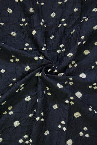 Dark Navy Blue Bandhani Cambric Cotton Fabric
