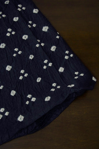 Dark Navy Blue Bandhani Cotton Fabric