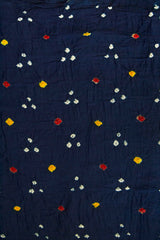 Blue Bandhani cambric cotton Fabric