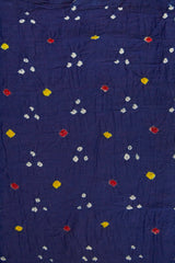 Yellow and Red Dots in Blue Bandhani Fabric