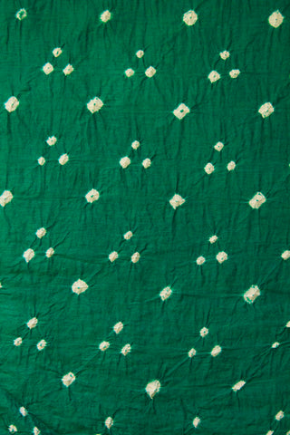 White Dots in Blue Green Bandhani Fabric