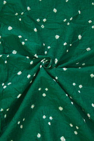 Blueish Green Bandhini Cambric Cotton Fabric-0.7 m