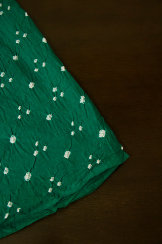Blueish Green Bandhini Cambric Cotton Fabric
