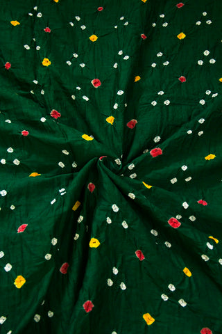 Dark Green Bandhani Cambric Cotton Fabric