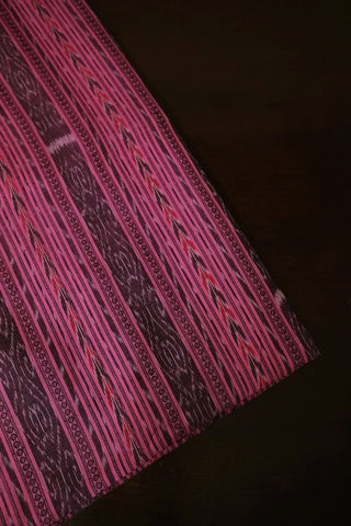 Pink with Grey Orissa Ikat Cotton Fabric-1.5 m