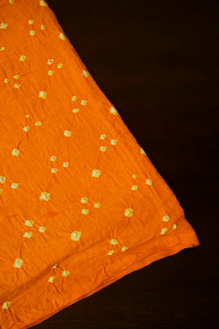 Golden Yellow with White Bandhani Cotton Fabric