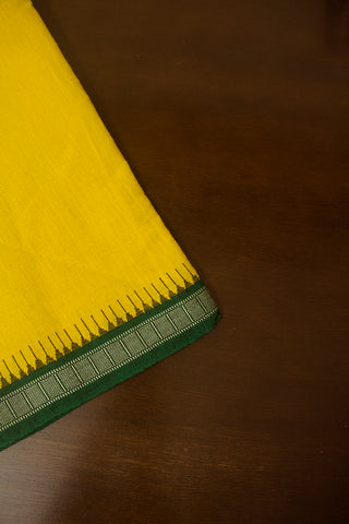 Green Temple Kuppadam border Handwoven Khadi Cotton Fabric