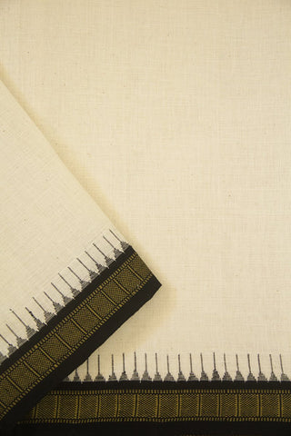 Off White with Black Temple Kuppadam Border Handwoven Khadi Cotton Fabric - 1.7m