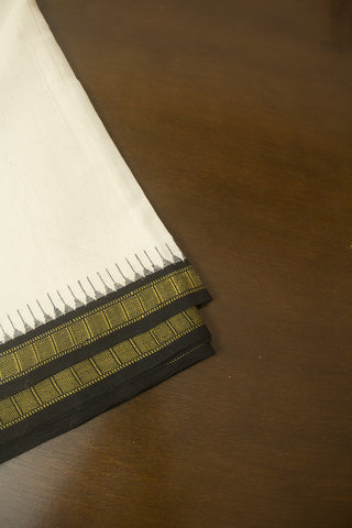Off White with Black Temple Kuppadam Border Handwoven Khadi Cotton Fabric