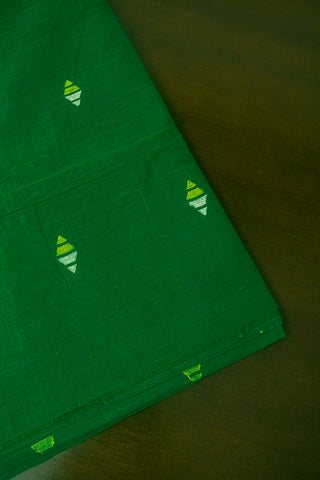 Green Diamond Handspun-Handwoven Jamdani Fabric