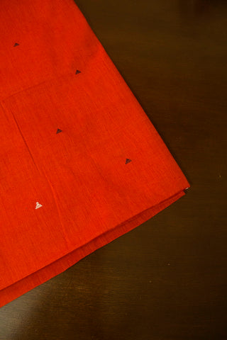 Reddish Orange Triangle Butta Handwoven Cotton Fabric