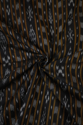 Black Orissa Ikat Cotton Fabric-0.5 m