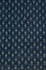 Blue with Black Small Floral Ajrak Cotton Fabric-1 m