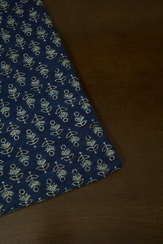 Blue with Black Small Floral Ajrak Cotton Fabric
