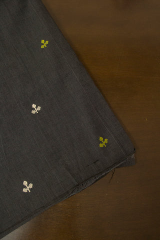 Elephant Grey with Small Flower Dobby Butta Handwoven Cotton Fabric