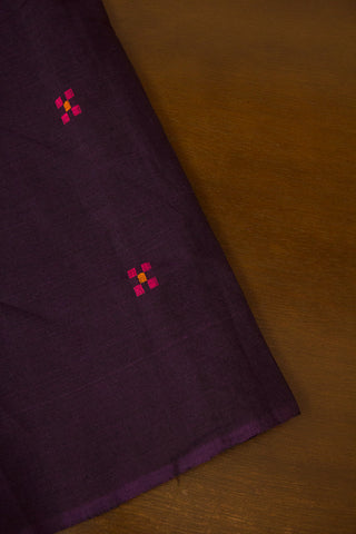 Dark Purple Handwoven Dobby Butta Cotton Fabric