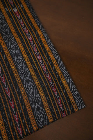 Black with Yellow Orissa Ikat Cotton Fabric
