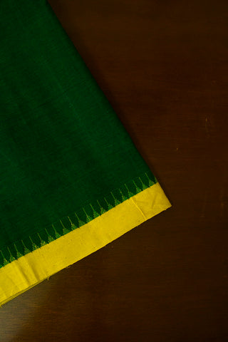 Dark Green with Yellow Temple Kuppadam Border Khadi Cotton Fabric