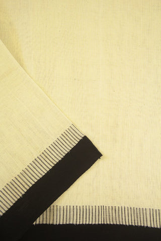 Off White with Black Needle-like Kuppadam border Khadi Cotton Fabric - 1.6m