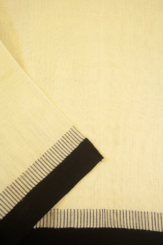 Off White with Black Needle-like Kuppadam border Khadi Cotton Fabric