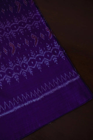 Blue with Pink Design Orissa Ikat Cotton Fabric