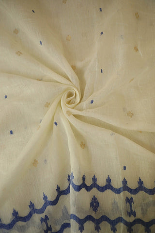 Off White Bengal Jamdani Silk Cotton Fabric