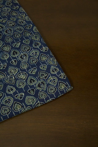 Indigo Leaves Ajrak Cotton Fabric