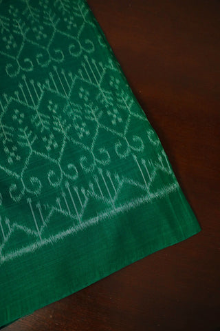 Pine Green with Grey Orissa Ikat Cotton Fabric