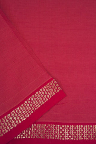 Pink with Silver Zari Border Handwoven Cotton Fabric - 1.5m
