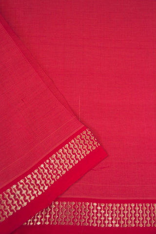 Pink with Silver Zari Border Handwoven Cotton Fabric