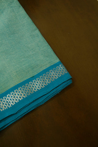 Light Blue Handwoven Cotton Fabric with Zari Border