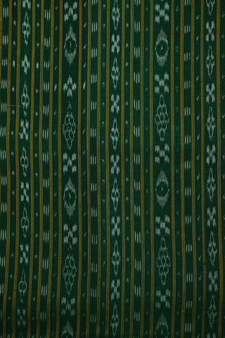 Dark Green Orissa Ikat Cotton Fabric