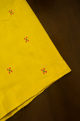 Dark Yellow Square Dobby Butta Handwoven Cotton Fabric
