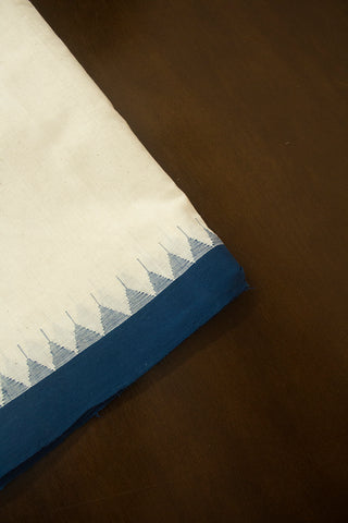 Off White with Blue Temple Kuppadam Border Handspun-Handwoven Cotton Fabric