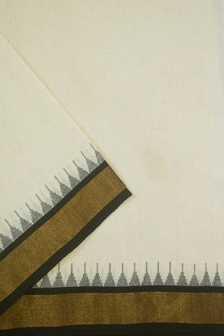 Off White Temple Kuppadam Border Handwoven Khadi Cotton Fabric